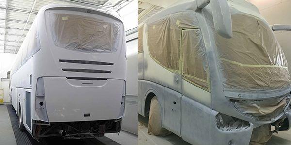aplicação de aparelho em estufa de preparação de pintura   Bus painting
