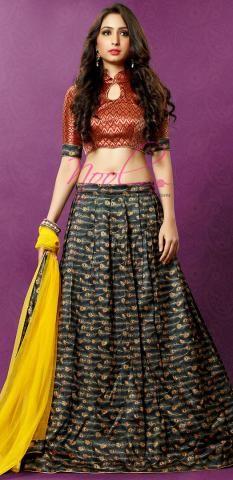Ghagra Choli Black Printed Silk Semi Stitched Lehenga BZ4983D76311