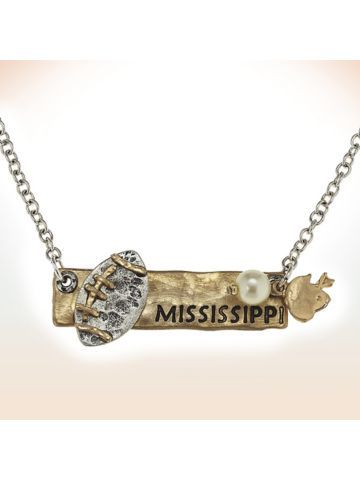 Two-Tone Mississippi Football Pendant Necklace