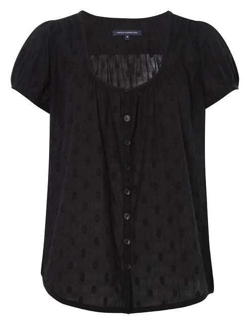 Our bestselling shirt is back! Fresh and lightweight, this style is easy to wear with denim or printed pants. Preet Polka Shirt has short sleeves and a scoop neck with front button detailing.