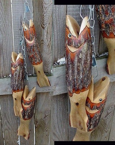 lake fishing decor | Moose-R-Us.Com Fish Stringer of 3 Large Wood Carved Natural Real Bark ...