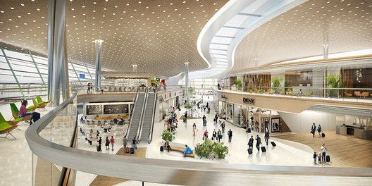UNStudio Proposes User-Centric Design for the Taiwan Taoyuan International Airport,Interior Rendered View. Image Courtesy of UNStudio