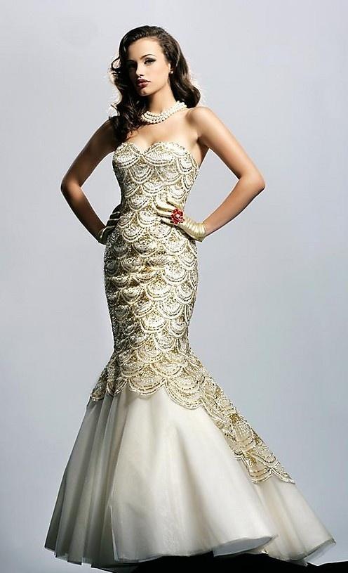 Mermaid White Prom Dress 2012