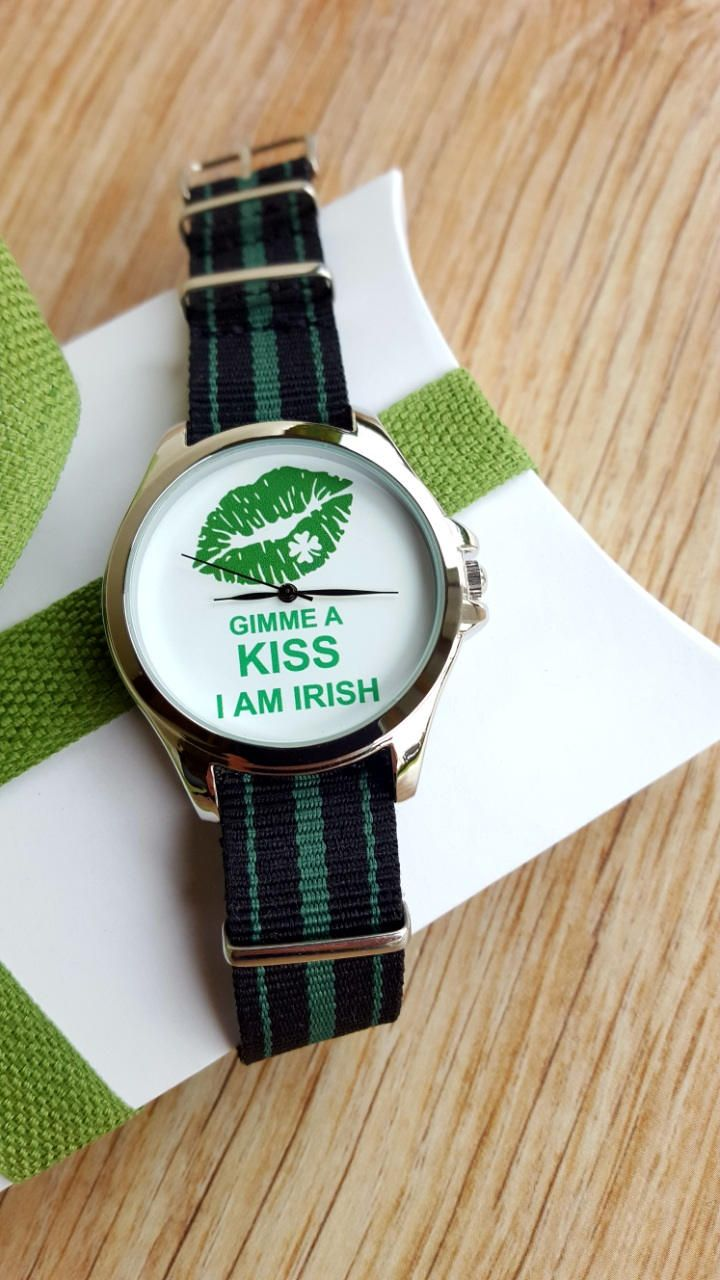 Minimalist Fun Watch, Kiss Me I'm Irish Watch, Novelty Watch, NATO Strap, Handmade Watch, Womens Jewellery, Womens Watch, Unique Gift. by IrishFashionWatches on Etsy