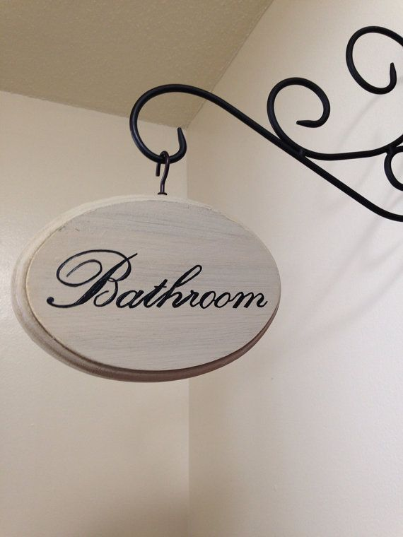 5x7 Inch Hand Painted Cream Distressed Bathroom Sign In