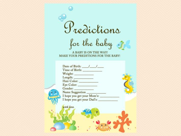 predictions for the baby cards, Beach, Sea, Under the Sea Baby Shower Game Printables, Beach Baby Shower Game Pack, Instant Download, Sea Animals TLC19