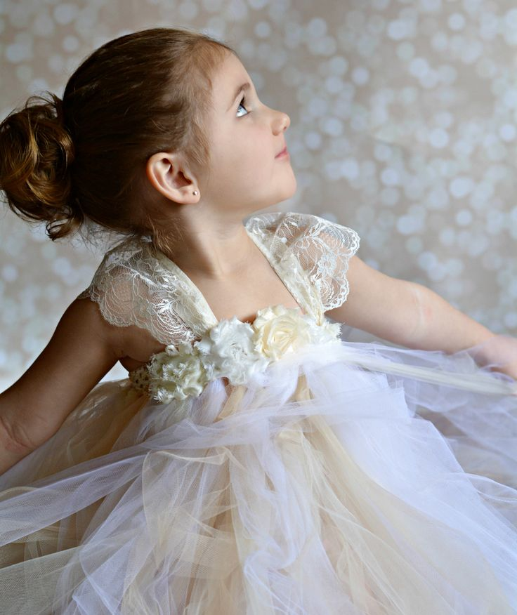 Flower girl tutu dress, shabby chic with lace and satin straps by TUTU Maria