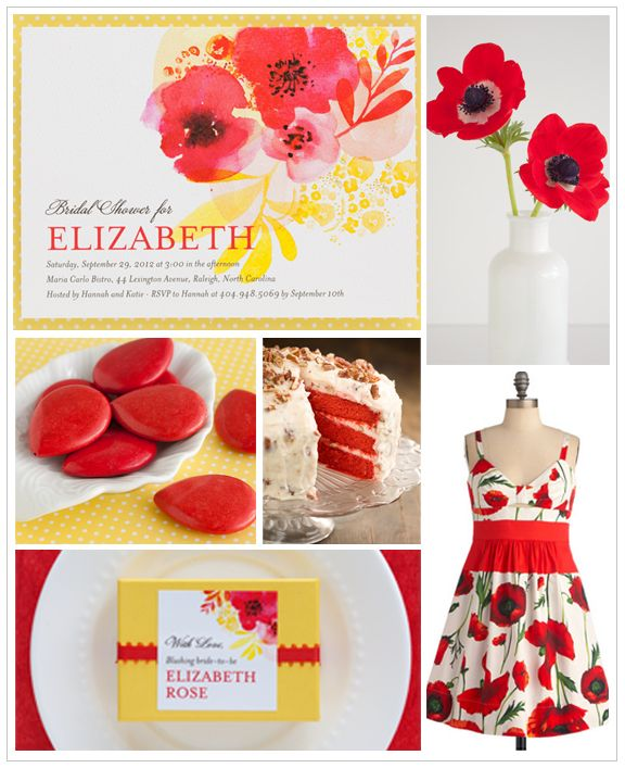 Bright red poppies and sun-kissed yellow are perfect for a warm spring shower!: Watercolor Poppies, Erikas Wedding Shower, Wedding Paper Divas, Red Poppies, Bojan S Wedding, Watercolor Invite, Bright Red, Poppy Red Wedding