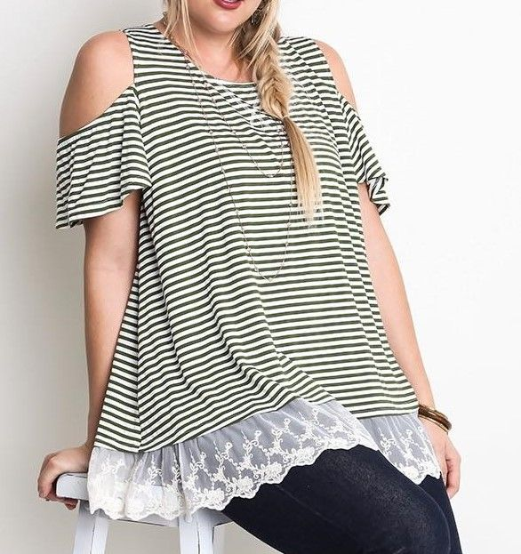 Cold Shoulder Lace Top In Plus Size