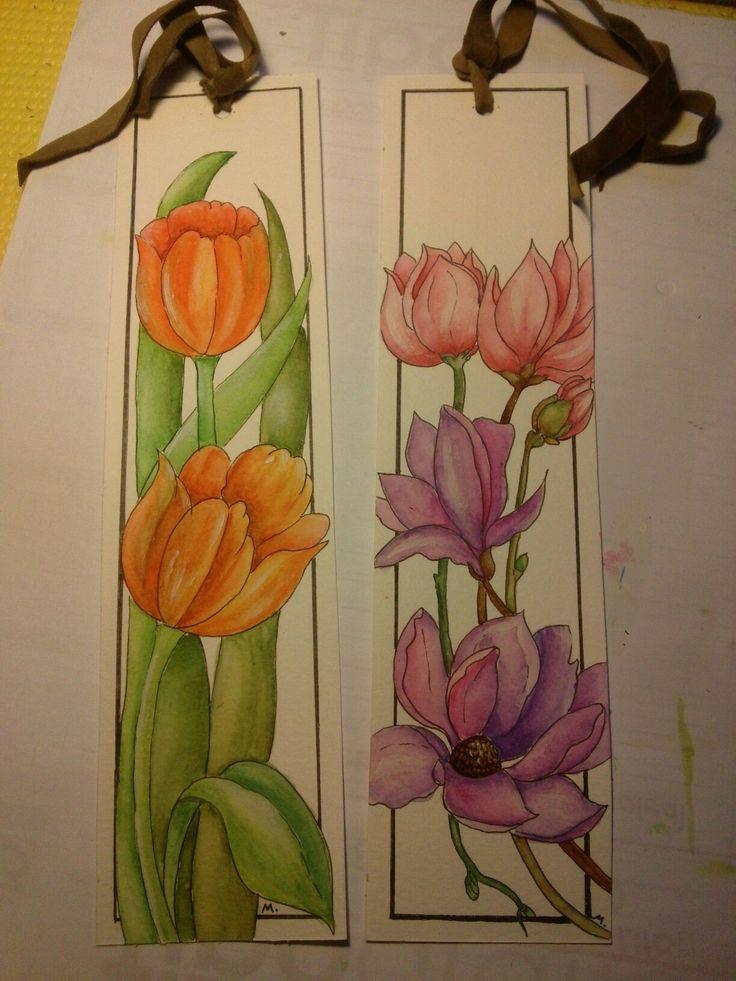 Con i ritagli di carta ho dipinto questi segnalibri, ho aggiunto un nastro di pelle scamosciata