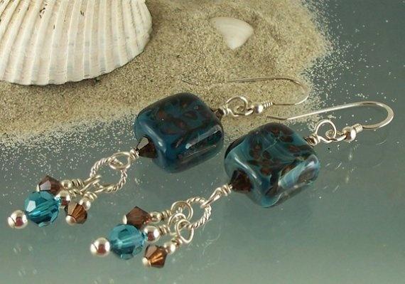 $25 Sale - Tide Pools - boro lampwork and sterling silver earrings