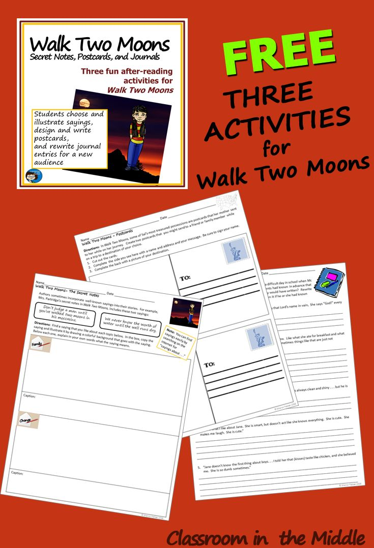 Walk Two Moons - Three free activities for the novel Walk Two moons based  on writings