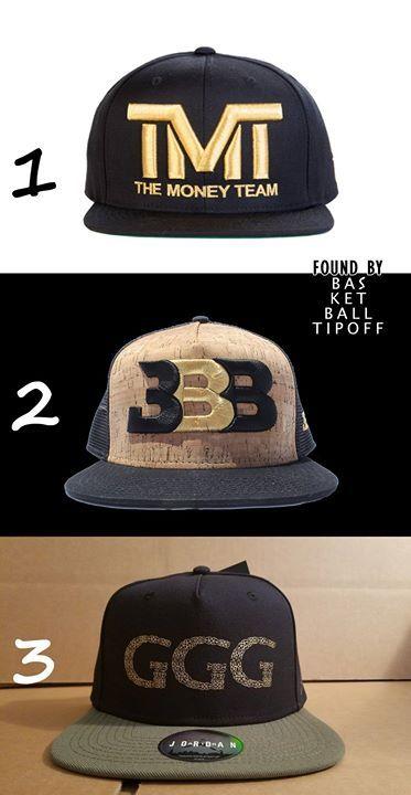 Big boxing match tomorrow got me thinking about hats which should I go for.   3) Triple G's look cheap but they have better ones. 2) Big baller brand hat looks loud and the look is not working for me. 1) TMT would be great without the word money on it.  Can you decide for me?