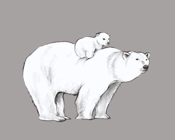 Modern Nursery Art - Polar Bears - Grey Printable Gender Neutral wall decor by CubsandKids