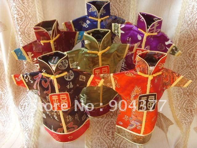 Античный Китайский стиль Рождество Бутылки Вина Одежда Обложка Многоразовые Дамасской Ткани Украшения Стола Декор Бутылки Сумки Чехол