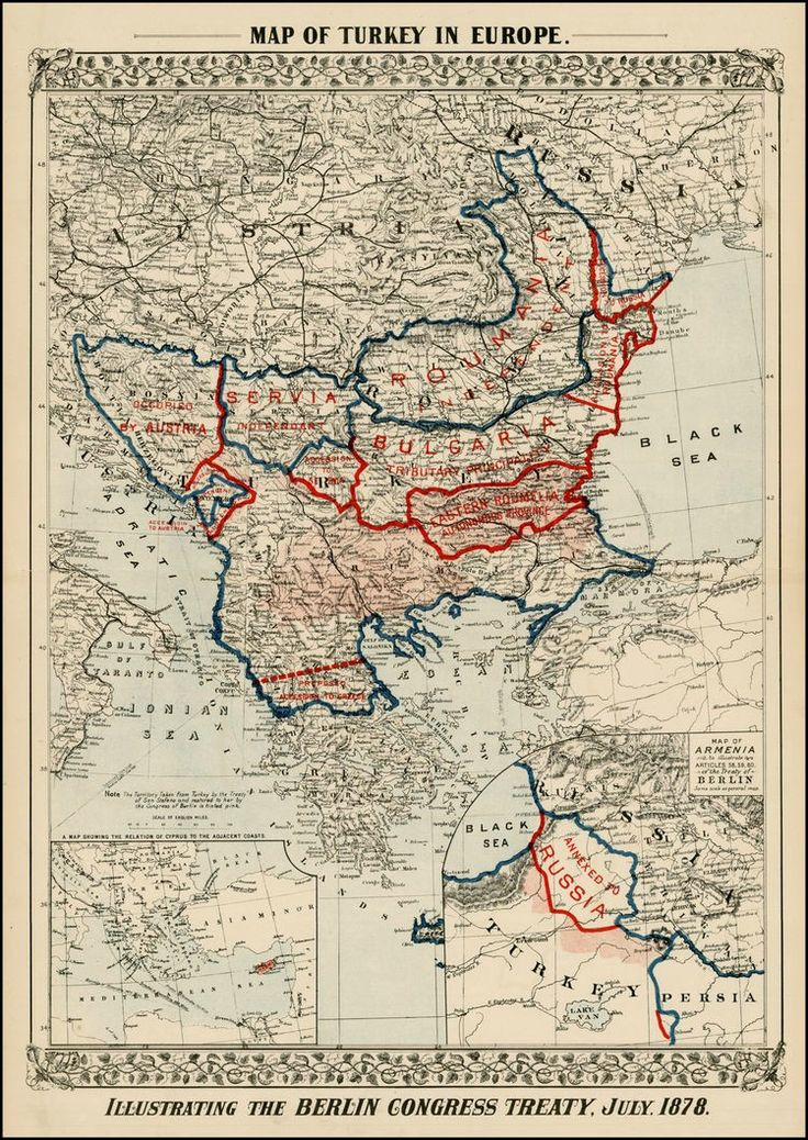 Map of Turkey in Europe 1878