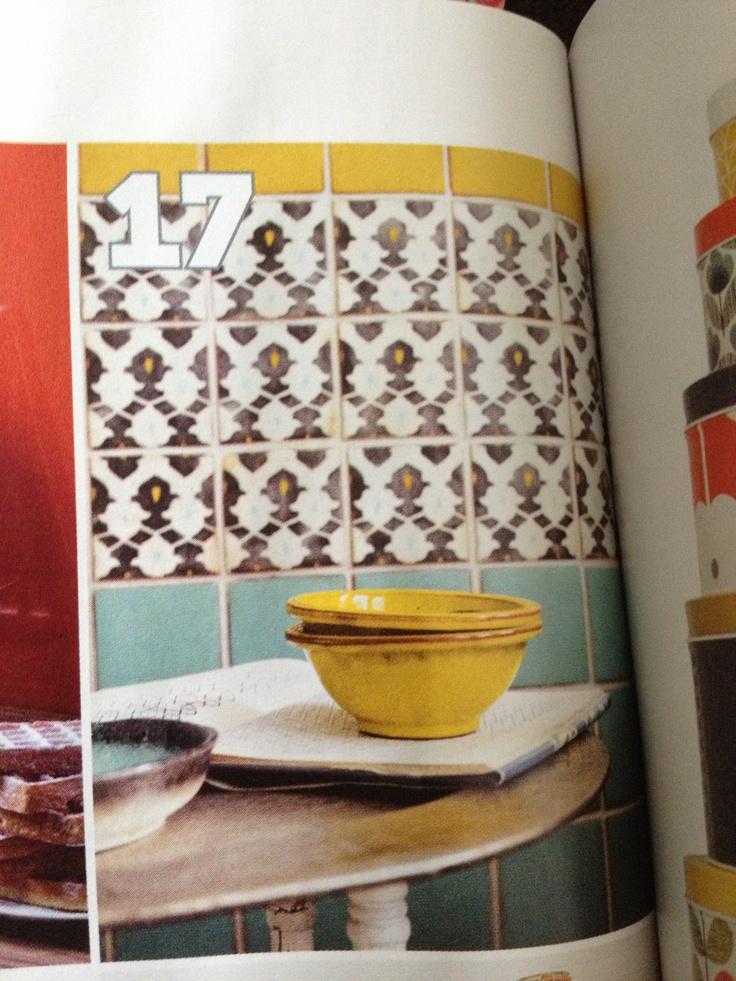 Fired Earth - honey and turquoise plain (£4.82) and targa decor tiles (£9.95)