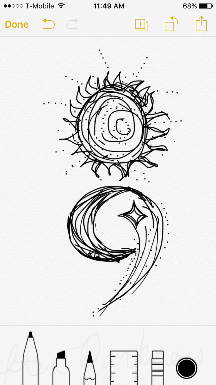 Semicolon tattoo design by me, if you love it please feel free to use it! Sun moon shooting star If you use my design, please send me a pic! I would love to see and it would be an honor!