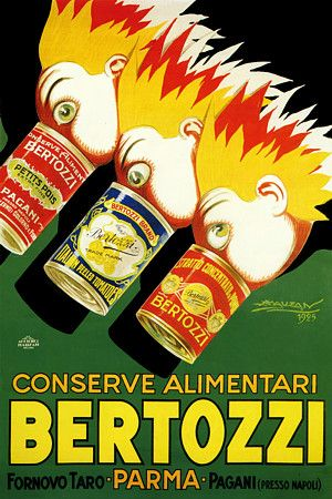 Italian vintage poster for Bertozzi canned foods by Mauzan. 1925 http://www.vintagevenus.com.au/vintage/reprints/info/FD354.htm