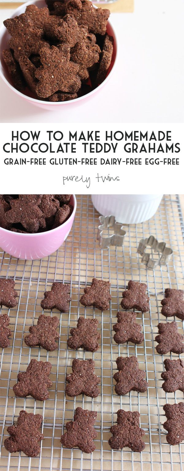 How to make healthy chocolate TEDDY GRAHAMS for a healthy snack for kids and it's moms approved || purelytwins.com #grainfree #eggfree