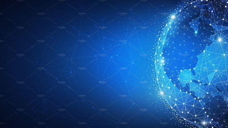 Blockchain technology futuristic hud banner with world globe. #Ad , #Affiliate, #globe#world#blockchain#peer
