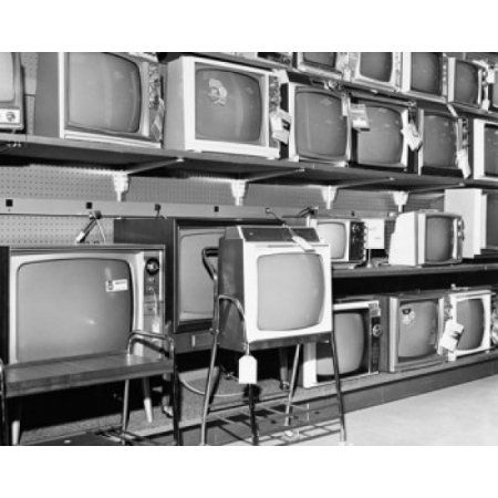 Televisions in an electronics store Canvas Art - (18 x 24)