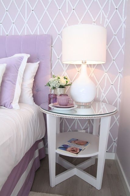 DIY: Ikea Vejmon table painted in white, with nailheads and mirror