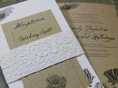 """Rustic Flowers"" An invitation is the first glimpse your guests will have of your up and coming special day, Our design team can create beautiful, unique and elegant wedding invitations that will impress your guests.   Our wedding invitation designs in the ""Designer Range"" can be customised to reflect your style, wedding theme and complement your special day"