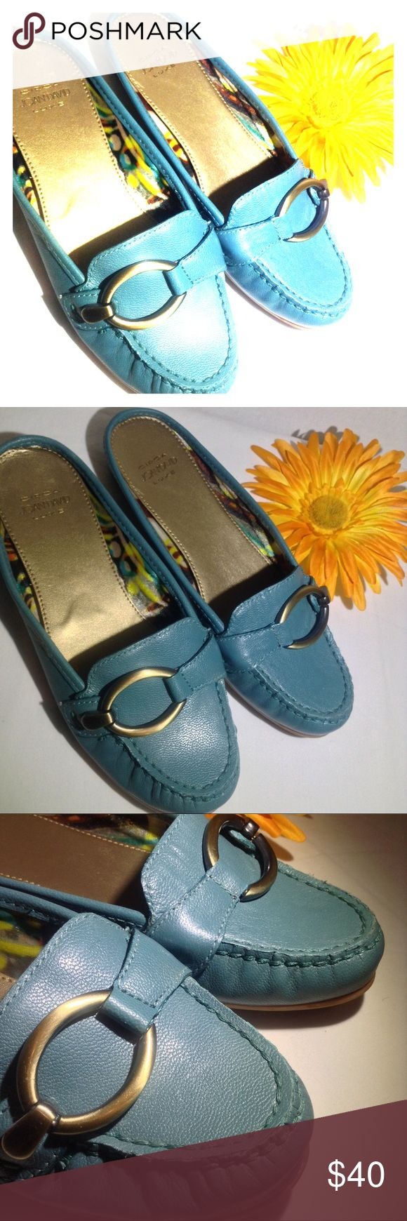 Circa Joan & David  Luxe Leather Shoes NWOT Light Turquoise Blue slides with gold buckle accent. Leather upper Size 5.5M Joan & David Shoes Flats & Loafers