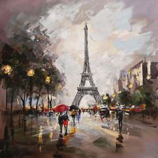 Modern abstract Hand-Painted Eiffel Tower Paris Oil Painting wall decor canvas