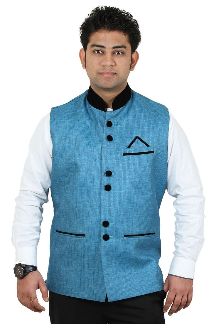 http://tinyurl.com/o7lvm2q Buy Online Party Wear RAI SAHAB Firozi Polyester Modi Jackets For Men Lowest Prices only on Getabhi.com