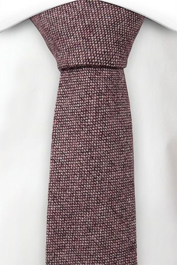 Slim necktie - Semi-solid mix of burgundy and off-white