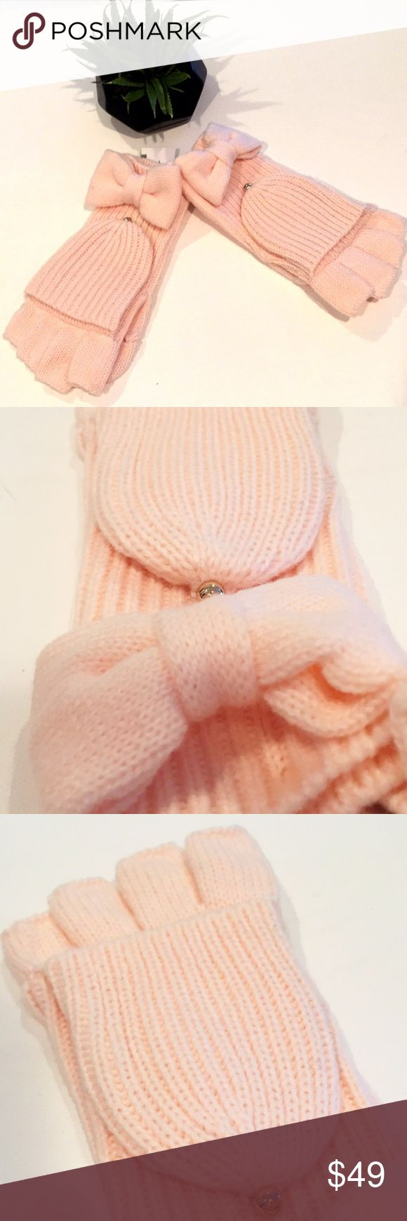 NWTs Kate Spade Rose Dew Knitted Gloves Bows add a dainty touch to these knit Kate Spade New York gloves. Removable top and thumb sections allow for easy touchscreen use. Unlined. 100% acrylic Dry clean. Imported, China Rose Dew  One size  Note the tag is ripped half way  No trades  Firm unless Bundled kate spade Accessories Gloves & Mittens
