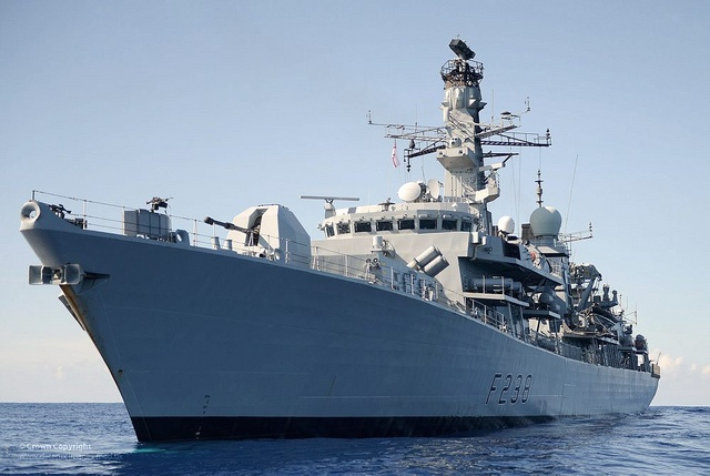 Royal Navy Type 23 Duke class frigate HMS Northumberland is pictured prior to her port visit into Dar Es Salam, Tanzania on the 28th of December 2012.