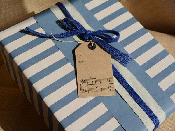 Wrapping paper stripe design  -washed navy/white on kraft