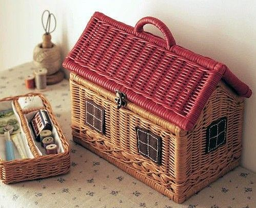 Vintage Wicker Sewing Box in the Shape of a Cabin.