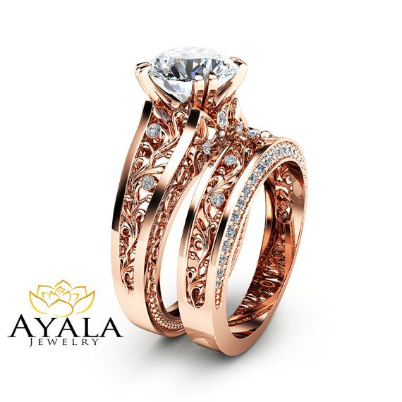 Rose Gold Moissanite Engagement Ring Set Unique 2 Carat Moissanite Ring with Matching Band 14K Rose Gold Engagement Rings