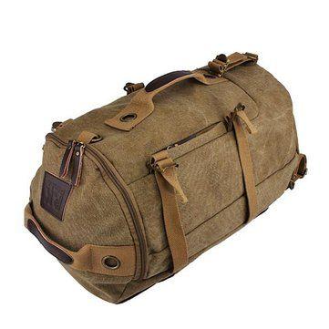 Men Dual-Use Canvas Bucket Backpack Jungle Climbing Bag Laptop Backpack Rucksack Duffel Bag Online - NewChic Mobile.