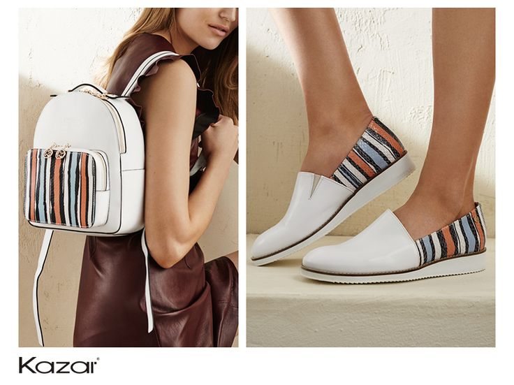 Orange and blue stripes on a white background – this is the latest idea for pastels in a casual, summer version.