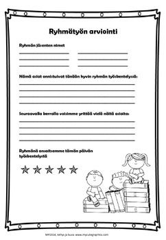 This product is in Finnish. The product consists of three evaluation forms for assessing group work, mainly for students self-assessment but there is also room for teacher's notes. Ryhmätyön arviointia, jonka tekijä on Maria Pernu, on lisensoitu Creative Commons Nimeä-Epäkaupallinen-Ei muutoksia 4., Kansainvälinen -käyttöluvalla. ...