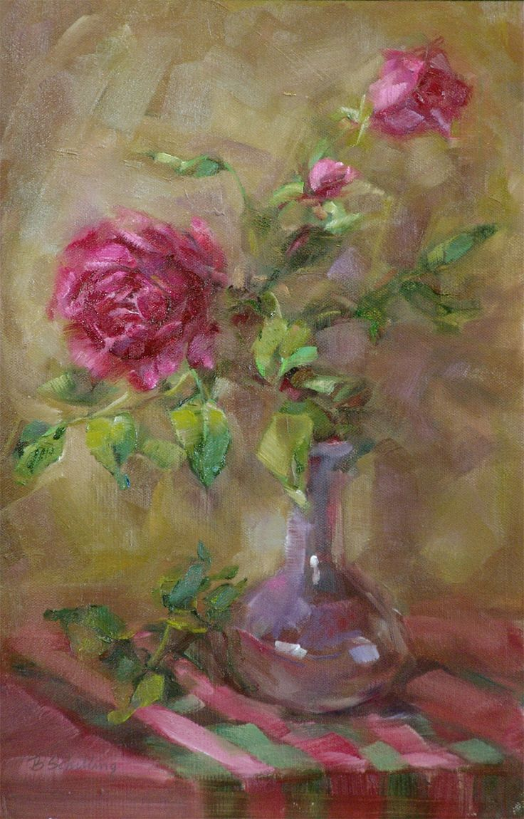 Fine watercolor art for sale - Daily Paintworks Roses In A Little Purple Vase Original Fine Art For Sale Barbara Schilling