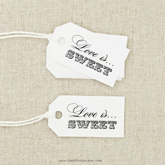 Favor Tag DIY Printable, Love is Sweet, Text Editable, Wedding Thank You Tag, Favor Tag, Favour Tag, Hang Tag