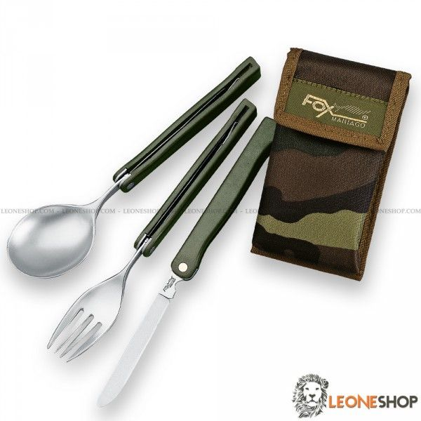 FOX KNIVES Folding Tableware Camping Set 677M, survival, camping and outdoor accessories, camping set with three camping tableware in stainless steel of high quality consisting in spoon, fork and table knife - Handle made with OD Green Polypropylene - Supplied with Camouflage Nylon sheath - FOX KNIVES camping survival set really exceptional with quality materials, superior quality in all the components and also in the finishes.
