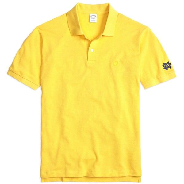 Brooks Brothers University of Notre Dame Slim Fit Polo ($75) ❤ liked on Polyvore featuring men's fashion, men's clothing, men's shirts, men's polos, yellow, mens yellow shirt, faded glory men's shirts, mens long sleeve polo shirts, mens slim fit polo shirts and mens yellow polo shirt