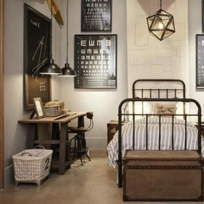 industrial / rustic bedroom; from marie claire maison - LOVE!!!!