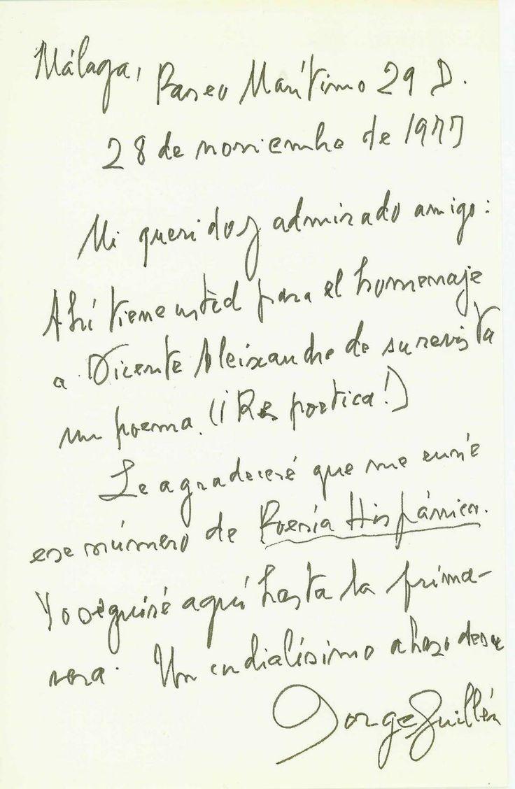 Carta de Jorge Guillén para un amigo.