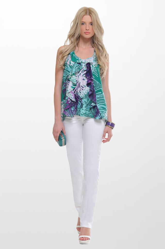 Sarah Lawrence - ruffled front sleeveless top with back lace, five pocket straight leg pant.