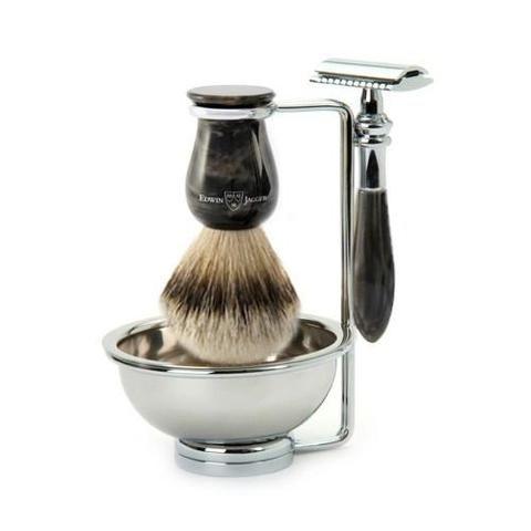 Edwin Jagger Plaza Black Marble DE 4-Piece Shaving Set 4PCBMPSRST