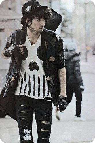 goth guys menswear rock skull t-shirt grunge menswear jacket gloves jeans shirt black white indie alternative edgy grunge punk tumblr outfit hat skinny jeans