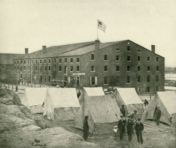 """Oct. 24, 1863: James arrived at this prison in Richmond, Virginia. He writes to Molly, """"I have thought daily & hourly of you."""" """"Libby"""" From Lanier, Robert S., ed. The Photographic History of the Civil War in Ten Volumes, Vol. 7. New York: The Review of Reviews Co., 1911. Missouri History Museum."""